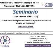 """Seminars """"Modelación de la pérdida de lisina disponible durante el secado por aspersión"""""""