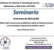 """Seminario """"Efecto del consumo de probióticos sobre el sistema inmune y la microbiota intestinal de adultos sanos"""""""