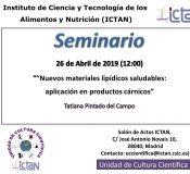 """Seminars """"Nuevos materiales lipídicos saludables: aplicación en productos cárnicos"""""""