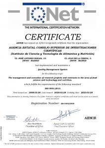 Certificado Iqnet ICTAN